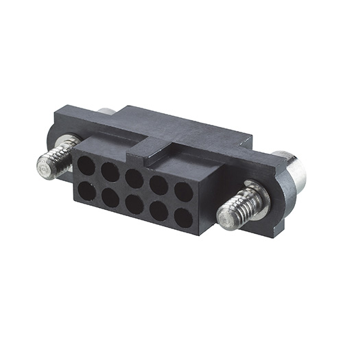 M80-4141098 - 5+5 Pos. Female DIL Cable Housing, Jackscrews