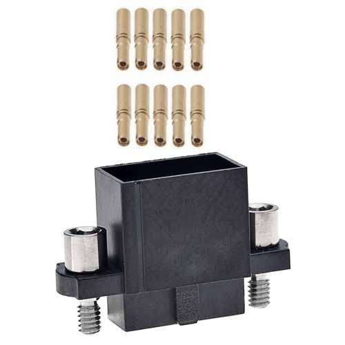 M80-4860605A - 3+3 Pos. Female DIL 24-28AWG Cable Conn. Kit, Extended Wall, Jackscrews
