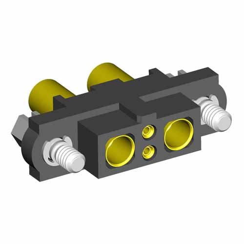 M80-4C10205F1-01-325-01-325 - 2+2 Pos. Female 24-28AWG+12AWG Cable Conn. Kit, Jackscrews