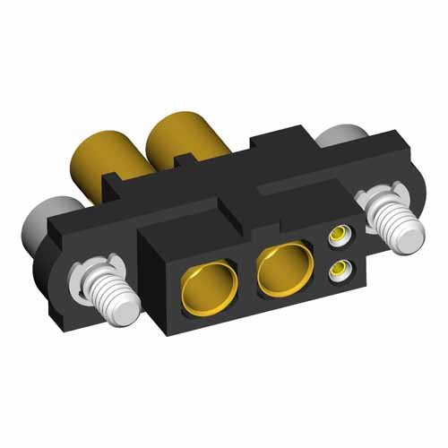 M80-4C10205F2-02-325-00-000 - 2+2 Pos. Female 24-28AWG+12AWG Cable Conn. Kit, Jackscrews