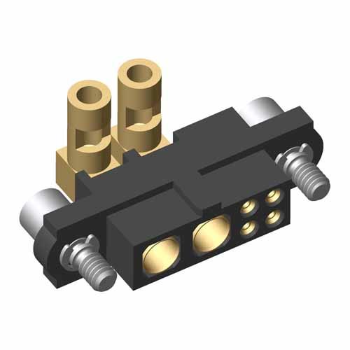 M80-4C10405F2-02-32C-00-000 - 4+2 Pos. Female 24-28AWG+16AWG Cable Conn. Kit, Jackscrews