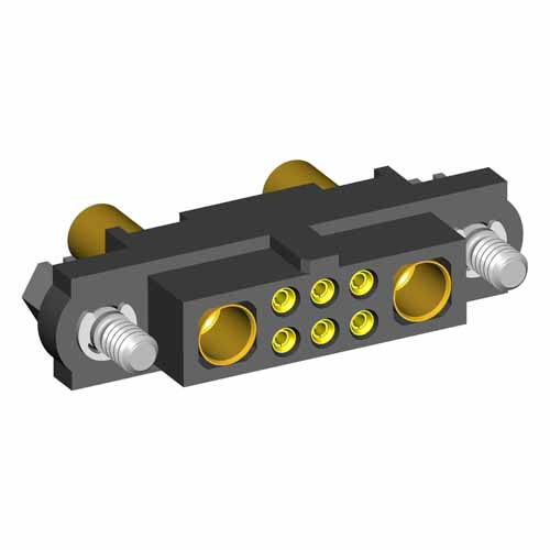 M80-4C10605F1-01-327-01-327 - 6+2 Pos. Female 24-28AWG+16AWG Cable Conn. Kit, Jackscrews