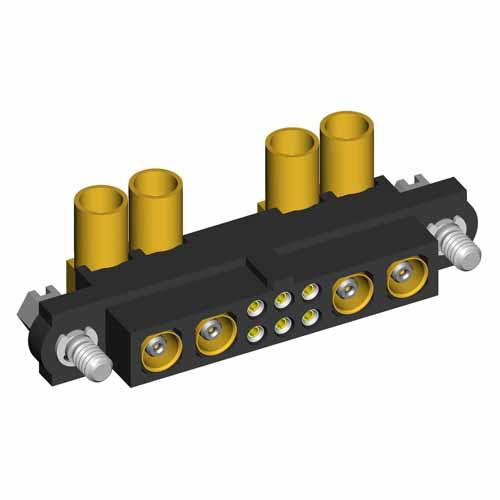 M80-4C10605F1-02-309-02-309 - 6+4 Pos. Female 24-28AWG+RG174/179/316 Cable Conn. Kit, Jackscrews