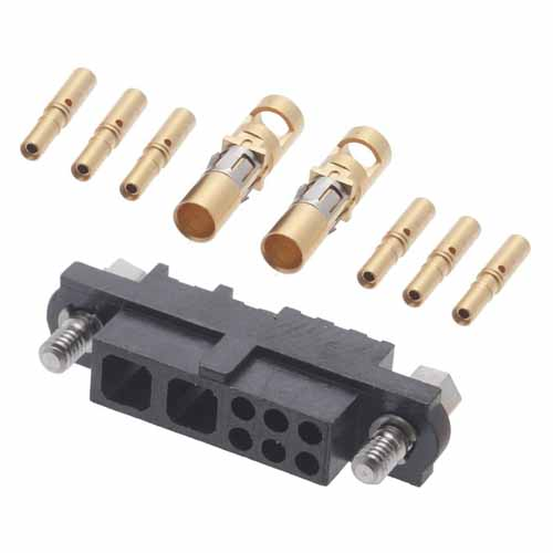 M80-4C10605F1-02-325-00-000 - 6+2 Pos. Female 24-28AWG+12AWG Cable Conn. Kit, Jackscrews