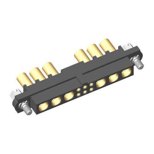 M80-4C10605F1-03-325-03-325 - 6+6 Pos. Female 24-28AWG+12AWG Cable Conn. Kit, Jackscrews