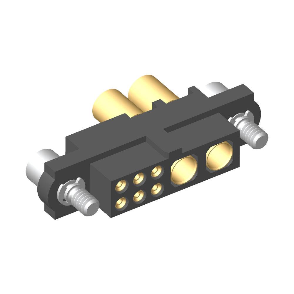 M80-4C10605F2-00-000-02-325 - 6+2 Pos. Female 24-28AWG+12AWG Cable Conn. Kit, Jackscrews