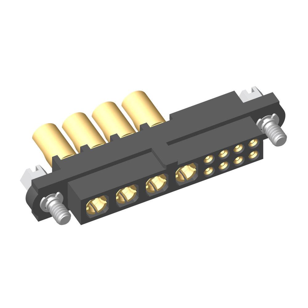 M80-4C10805F1-04-PF5-00-000 - 8+4 Pos. Female 24-28AWG+10AWG Cable Conn. Kit, Jackscrews