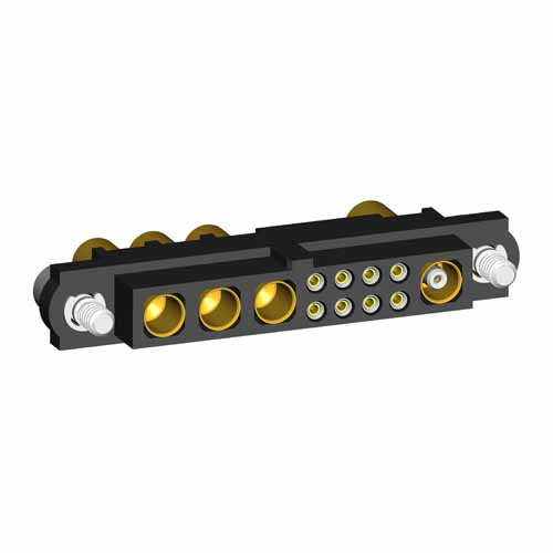 M80-4C10842F2-03-326-01-307 - 8+3+1 Pos. Female 24-28AWG+14AWG+RG174/179/316 Cable Conn. Kit, Jackscrews