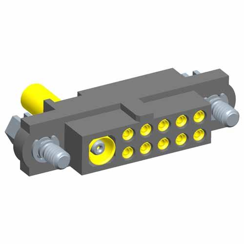 M80-4C11005F1-01-305-00-000 - 10+1 Pos. Female 24-28AWG+RG178 Cable Conn. Kit, Jackscrews