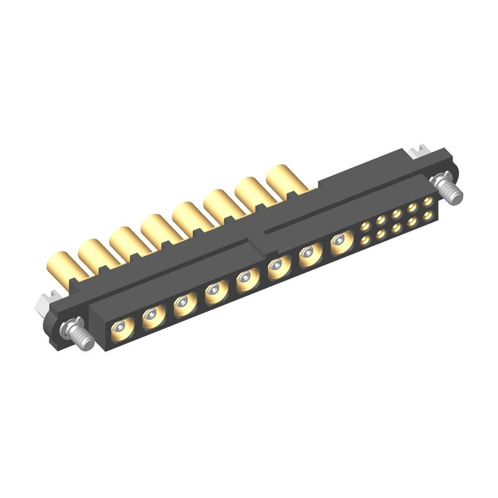 M80-4C11005F1-08-305-00-000 - 10+8 Pos. Female 24-28AWG+RG178 Cable Conn. Kit, Jackscrews
