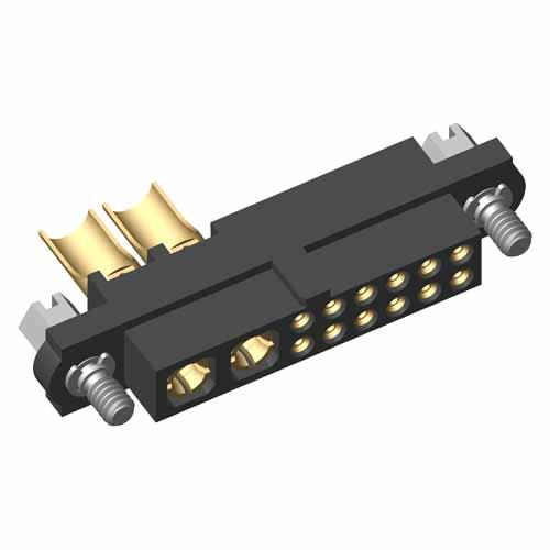 M80-4C11205F1-02-PF5-00-000 - 12+2 Pos. Female 24-28AWG+10AWG Cable Conn. Kit, Jackscrews