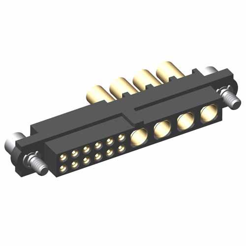 M80-4C11205F2-00-000-04-326 - 12+4 Pos. Female 24-28AWG+14AWG Cable Conn. Kit, Jackscrews