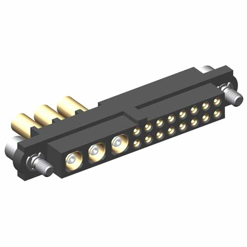 M80-4C11605F2-03-305-00-000 - 16+3 Pos. Female 24-28AWG+RG178 Cable Conn. Kit, Jackscrews