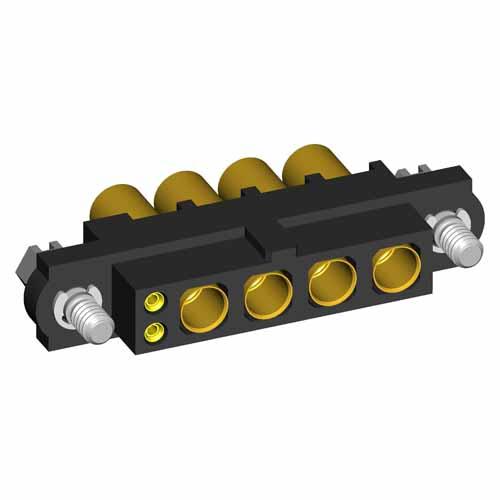 M80-4D10205F1-00-000-04-325 - 2+4 Pos. Female 22AWG+12AWG Cable Conn. Kit, Jackscrews