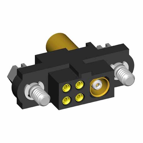 M80-4D10405F1-00-000-01-307 - 4+1 Pos. Female 22AWG+RG174/179/316 Cable Conn. Kit, Jackscrews