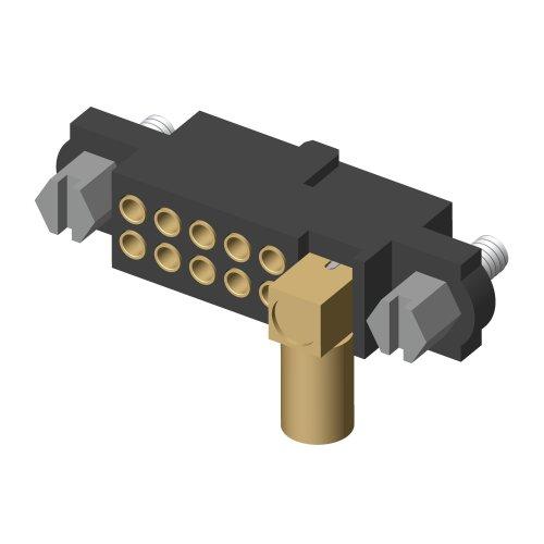 M80-4D11005F1-01-309-00-000 - 10+1 Pos. Female 22AWG+RG174/179/316 Cable Conn. Kit, Jackscrews