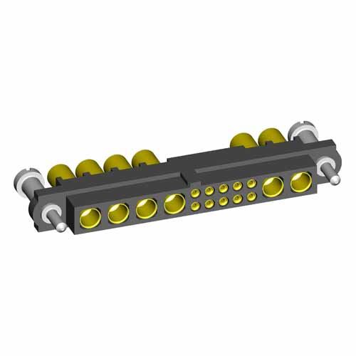 M80-4D11005FN-04-325-02-325 - 10+6 Pos. Female 22AWG+12AWG Cable Conn. Kit, Guide Pin Panel Mount