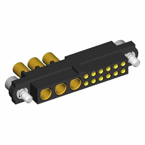 M80-4D11205F2-03-327-00-000 - 12+3 Pos. Female 22AWG+16AWG Cable Conn. Kit, Jackscrews