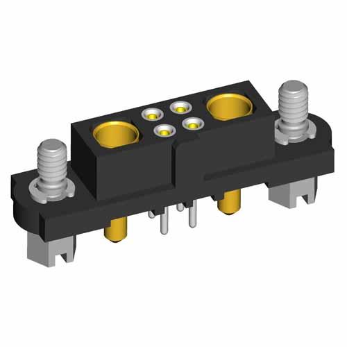 M80-4T10442F1-01-321-01-321 - 4+2 Pos. Female Signal+Power Vertical Throughboard Conn. Jackscrews