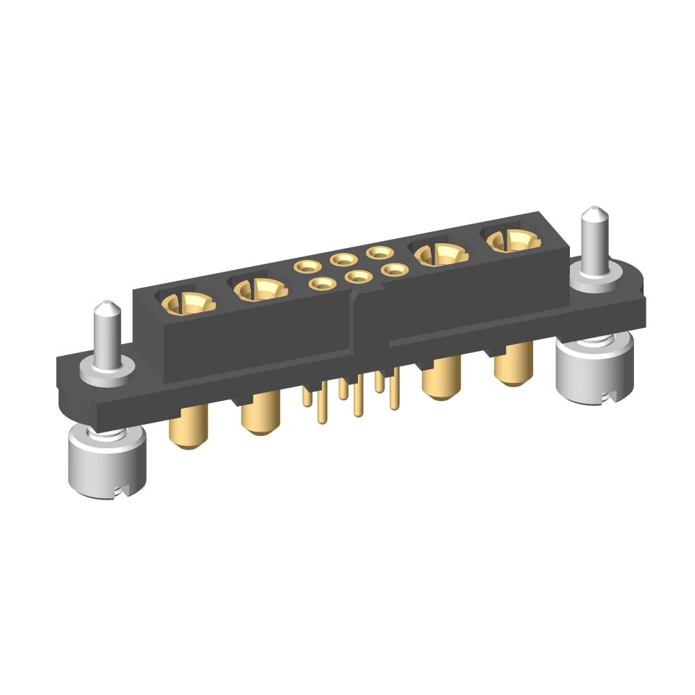 M80-4T10605F3-02-PF1-02-PF1 - 6+4 Pos. Female Signal+Power Vertical Throughboard Conn. Guide Pin