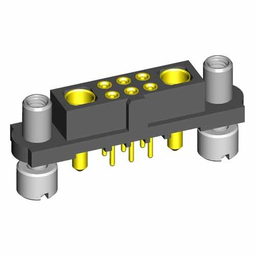 M80-4T10605F9-01-321-01-321 - 6+2 Pos. Female Signal+Power Vertical Throughboard Conn. Reverse Fix