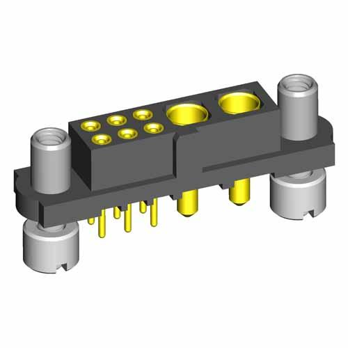 M80-4T10605F9-02-321-00-000 - 6+2 Pos. Female Signal+Power Vertical Throughboard Conn. Reverse Fix