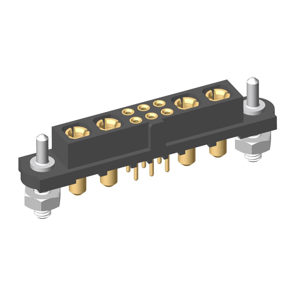 M80-4T10605FH-02-PF1-02-PF1 - 6+4 Pos. Female Signal+Power Vertical Throughboard Conn. Guide Pin