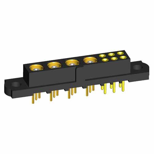 M80-4T1064200-00-000-04-301 - 6+4 Pos. Female Signal+Coax Vertical Throughboard Conn. No Jackscrews