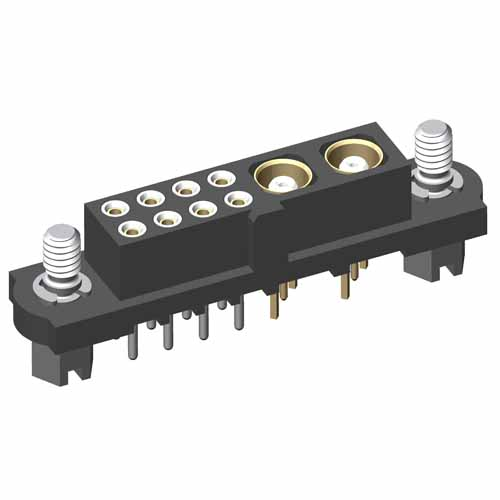 M80-4T10801F1-02-301-00-000 - 8+2 Pos. Female Signal+Coax Vertical Throughboard Conn. Jackscrews