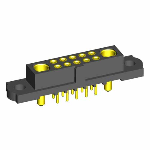 M80-4T1100500-01-321-01-321 - 10+2 Pos. Female Signal+Power Vertical Throughboard Conn. No Jackscrews