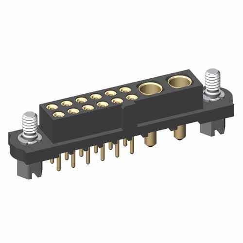 M80-4T11205F1-02-321-00-000 - 12+2 Pos. Female Signal+Power Vertical Throughboard Conn. Jackscrews