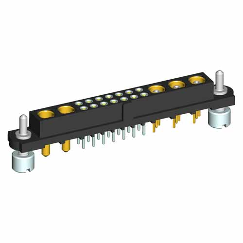 M80-4T11442F3-03-301-02-321 - 14+3+2 Pos. Female Signal+Coax+Power Vertical Throughboard Conn. Guide Pin