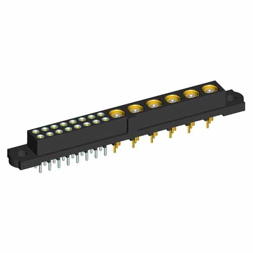 M80-4T1164200-06-301-00-000 - 16+6 Pos. Female Signal+Coax Vertical Throughboard Conn. No Jackscrews