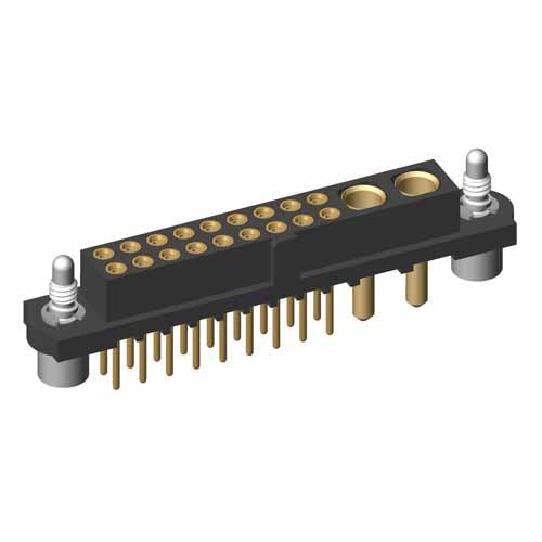 M80-4T21805FB-02-322-00-000 - 18+2 Pos. Female Signal+Power Vertical Throughboard Conn. Jackscrews