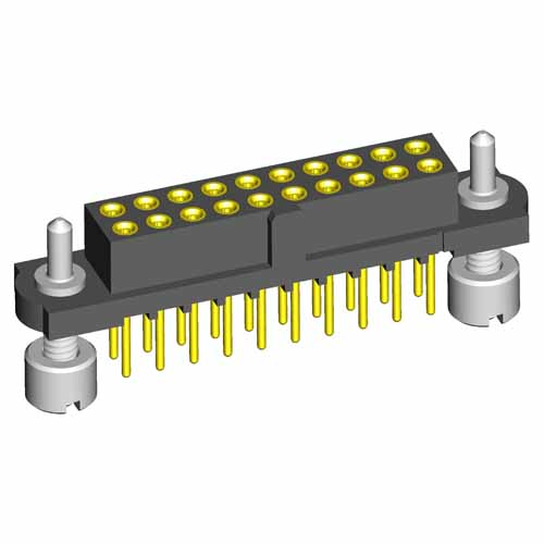 M80-4T23642FJ - 18+18 Pos. Female DIL Vertical Throughboard Conn. Guide Pin