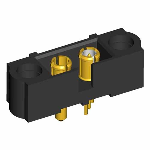 M80-500000000-01-331-01-311 - 2 Pos. Male SIL Power+Coax Vertical Throughboard Conn. No Jackscrews