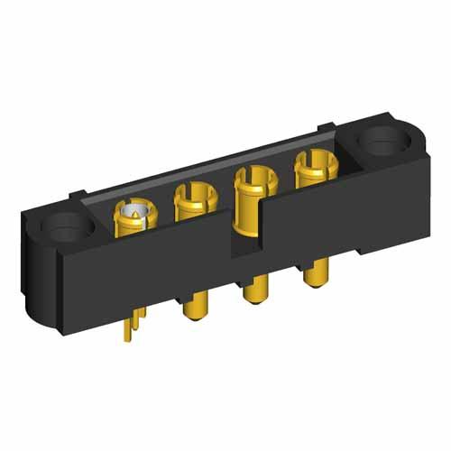 M80-500000000-03-331-01-311 - 4 Pos. Male SIL Power+Coax Vertical Throughboard Conn. No Jackscrews