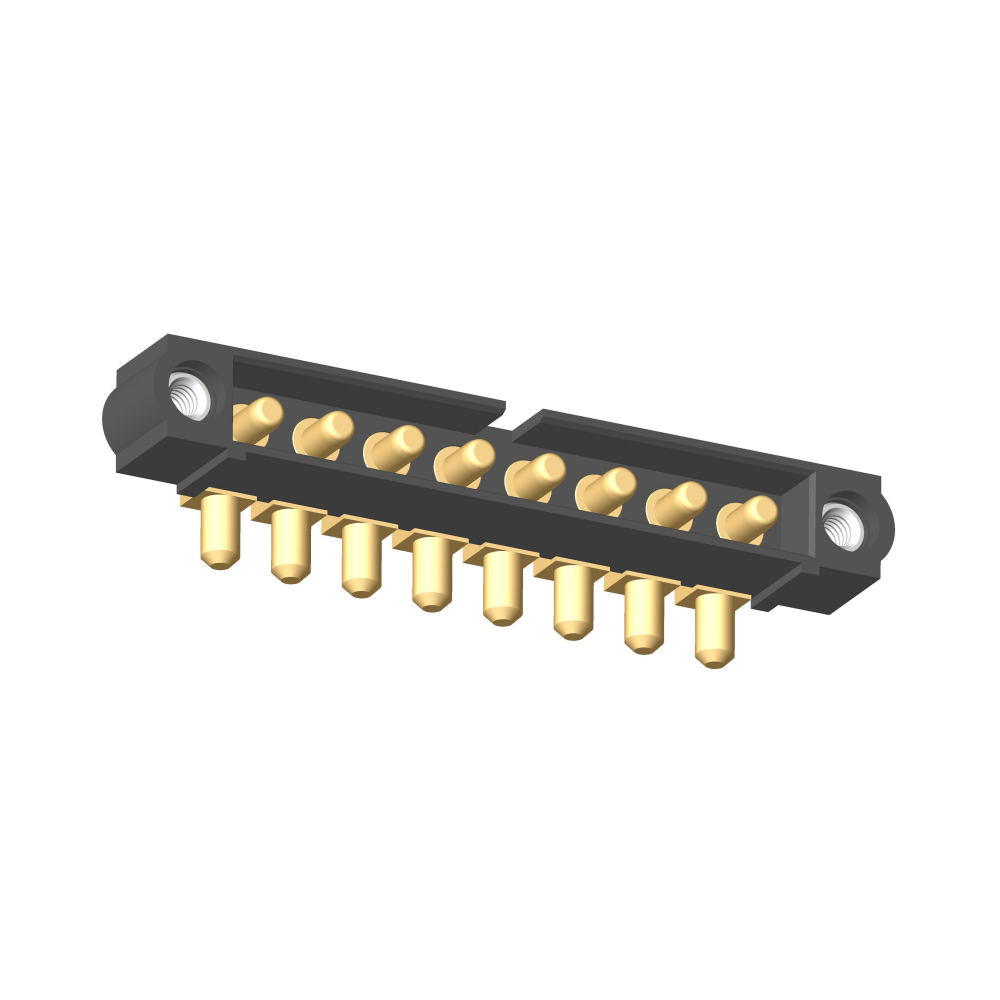 M80-5000000M1-08-PM3-00-000 - 8 Pos. Male SIL Horizontal Throughboard Conn. Jackscrews
