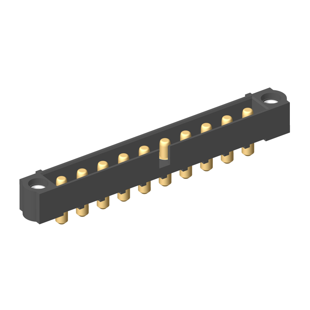 M80-5000000M1-10-PM1-00-000 - 10 Pos. Male SIL Vertical Throughboard Conn. Jackscrews