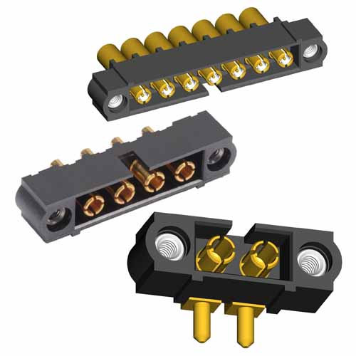 M80-5000000M1-12-PM2-00-000 - 12 Pos. Male SIL Vertical Throughboard Conn. Jackscrews