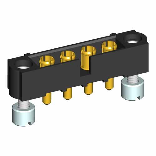 M80-5000000M3-04-331-00-000 - 4 Pos. Male SIL Vertical Throughboard Conn. Jackscrews