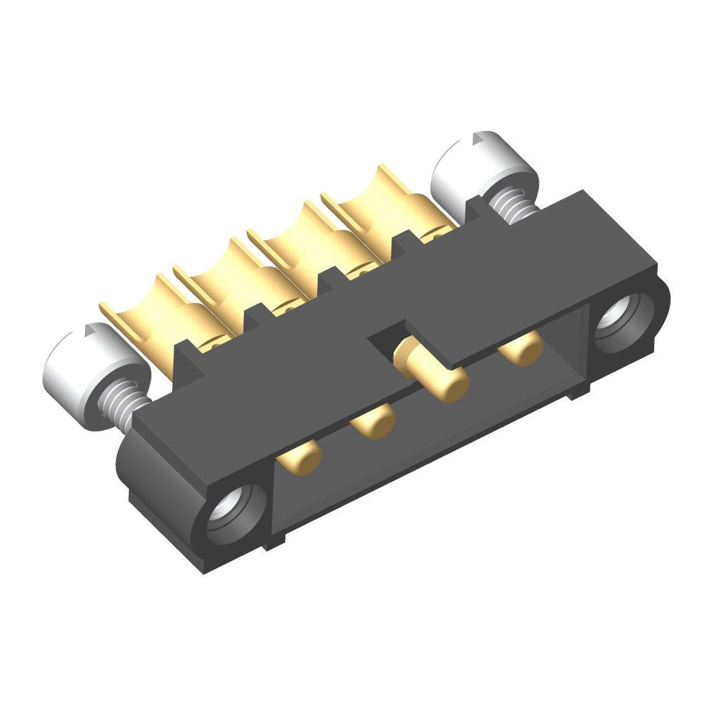 M80-5000000M3-04-PM5-00-000 - 4 Pos. Male SIL 10AWG Cable Conn. Kit, Jackscrews