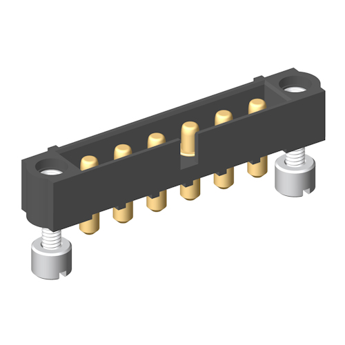 M80-5000000M3-06-PM1-00-000 - 6 Pos. Male SIL Vertical Throughboard Conn. Jackscrews