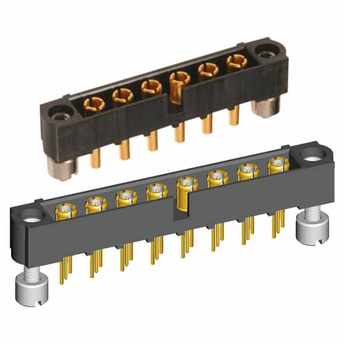 M80-5000000M3-12-PM2-00-000 - 12 Pos. Male SIL Vertical Throughboard Conn. Jackscrews