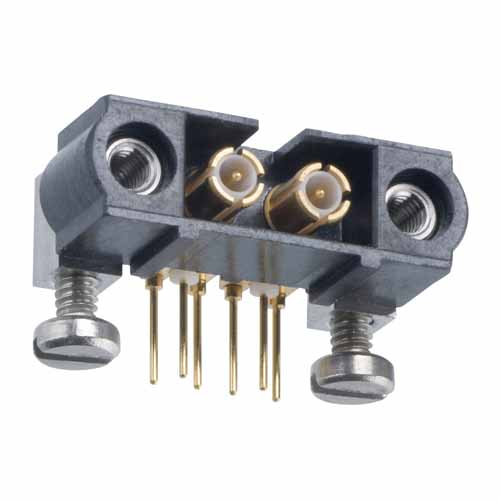 M80-5000000M5-02-314-00-000 - 2 Pos. Male SIL Horizontal Throughboard Conn. Jackscrews