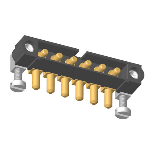 M80-5000000M5-06-PM4-00-000 - 6 Pos. Male SIL Horizontal Throughboard Conn. Jackscrews