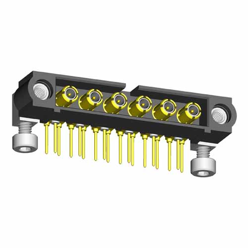 M80-5000000M7-06-314-00-000 - 6 Pos. Male SIL Horizontal Throughboard Conn. Jackscrews