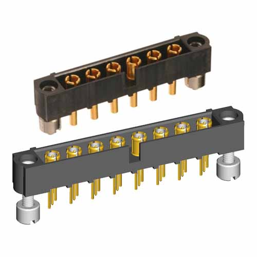 M80-5000000MH-05-312-00-000 - 5 Pos. Male SIL Vertical Throughboard Conn. Jackscrews