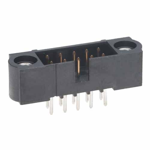 M80-5001042 - 5+5 Pos. Male DIL Vertical Throughboard Conn. Jackscrews