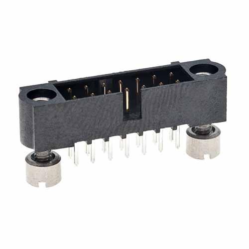 M80-5101422 - 7+7 Pos. Male DIL Vertical Throughboard Conn. Jackscrews